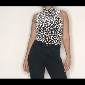 White leopard print top. Vintage made in USA
